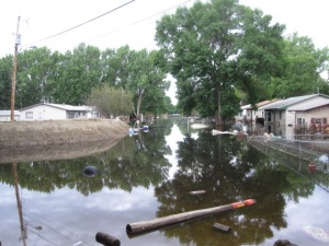 Flood waters slowly receed in Minot, ND