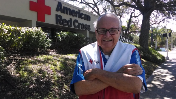 Bob Young celebrates 74 years of volunteering with the Red Cross.