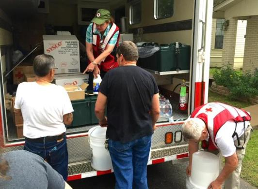 Red Cross disaster teams in Martindale, TX with food & clean-up supplies