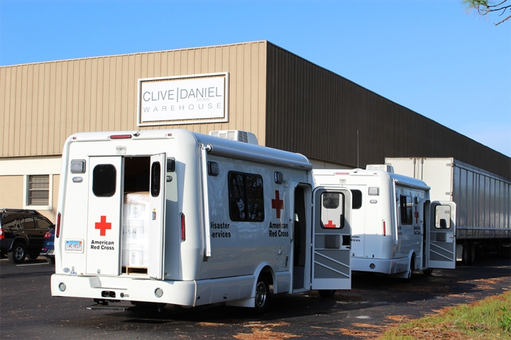 Red Cross vehicles at Clive Daniel Warehouse in Ft. Myers.