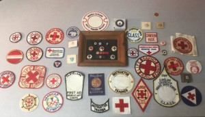 Patches that Michael has collected over his years of service with the Red Cross.