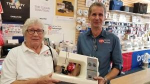 Helga with donated sewing machine